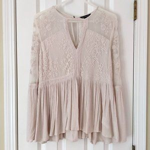 American Eagle Lace and Mesh Peplum Blouse, size L